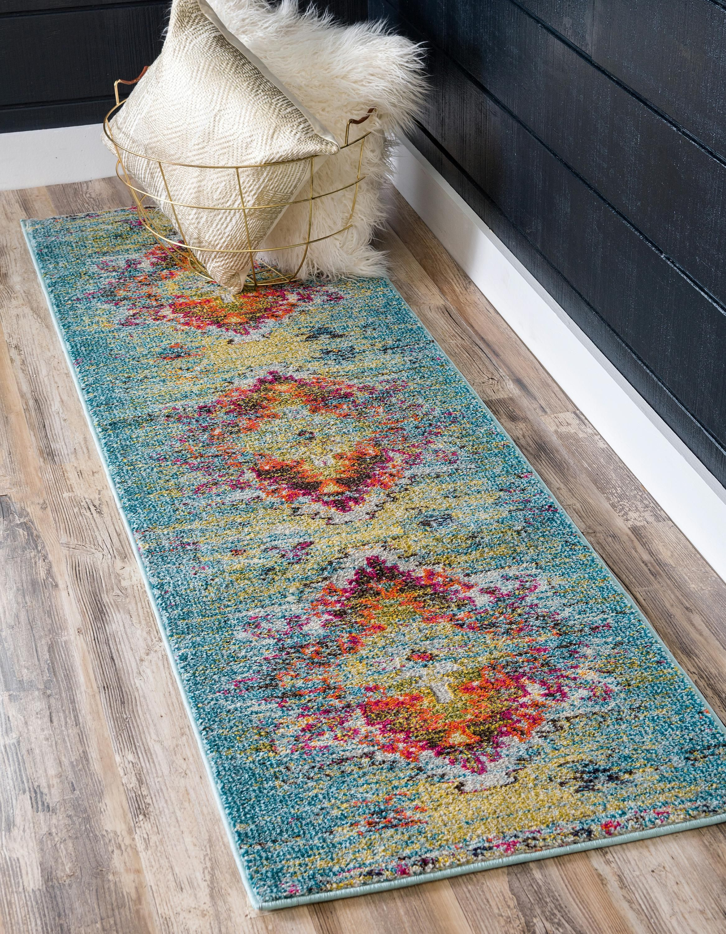Turquoise 2 7 X 10 Arte Runner Rug Area Rugs Esalerugs Rugs Rug Deals Unique Loom