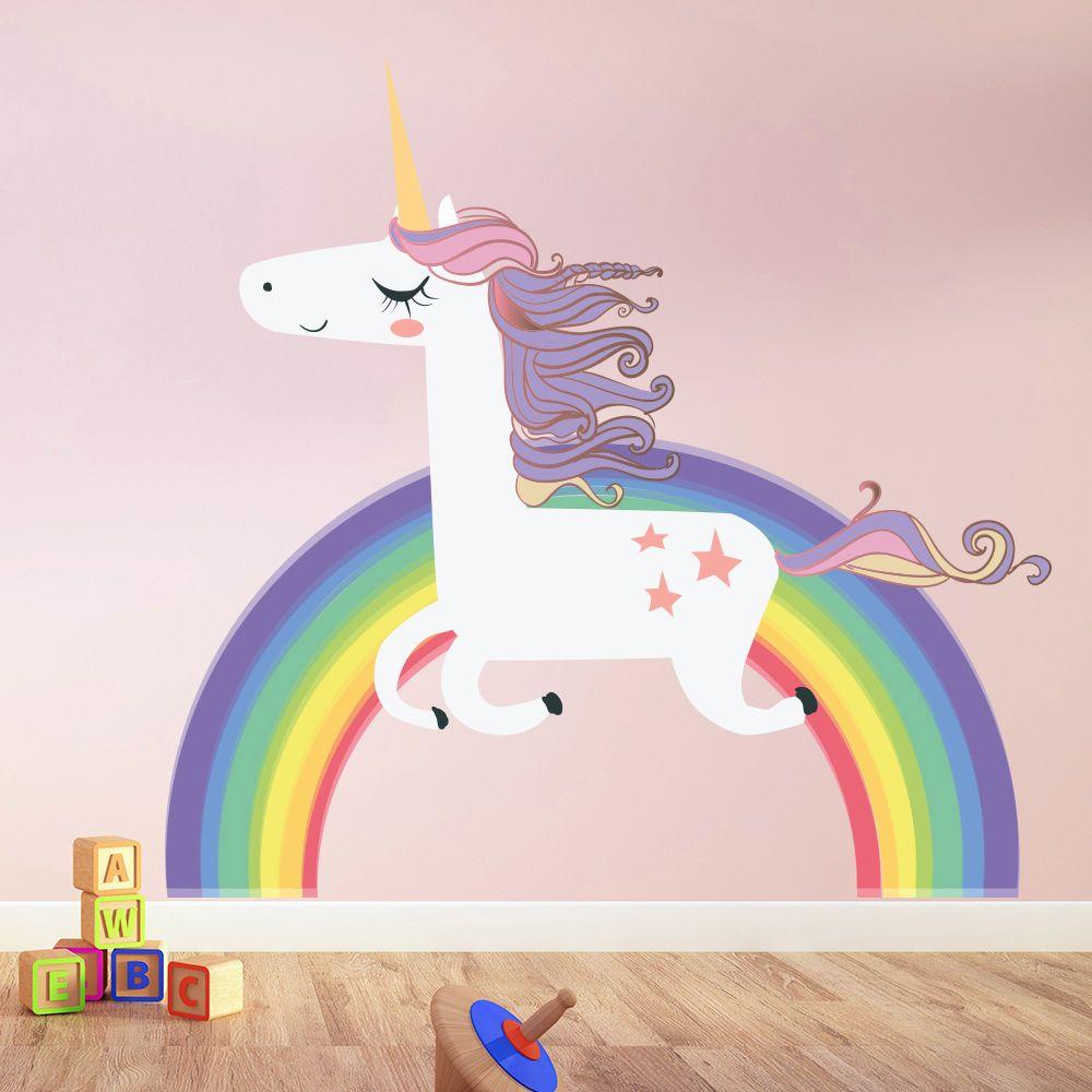 Unicorn wall sticker rainbow wall decal art girls bedroom nursery