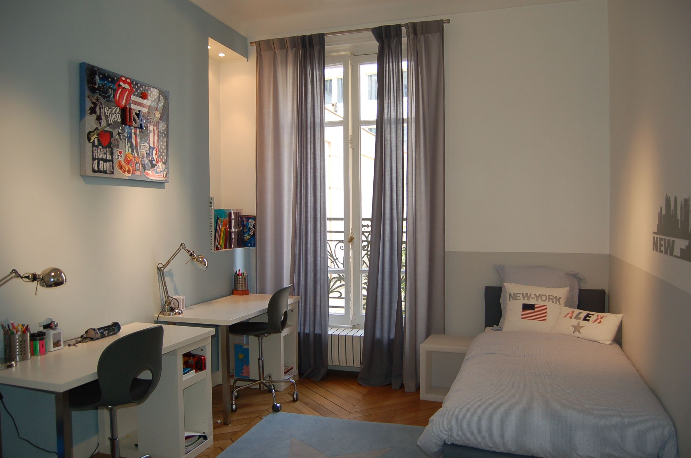 Chambre new york new york chambre grise chambre gar on chambre grise chambre enfant - Chambre parentale grise ...