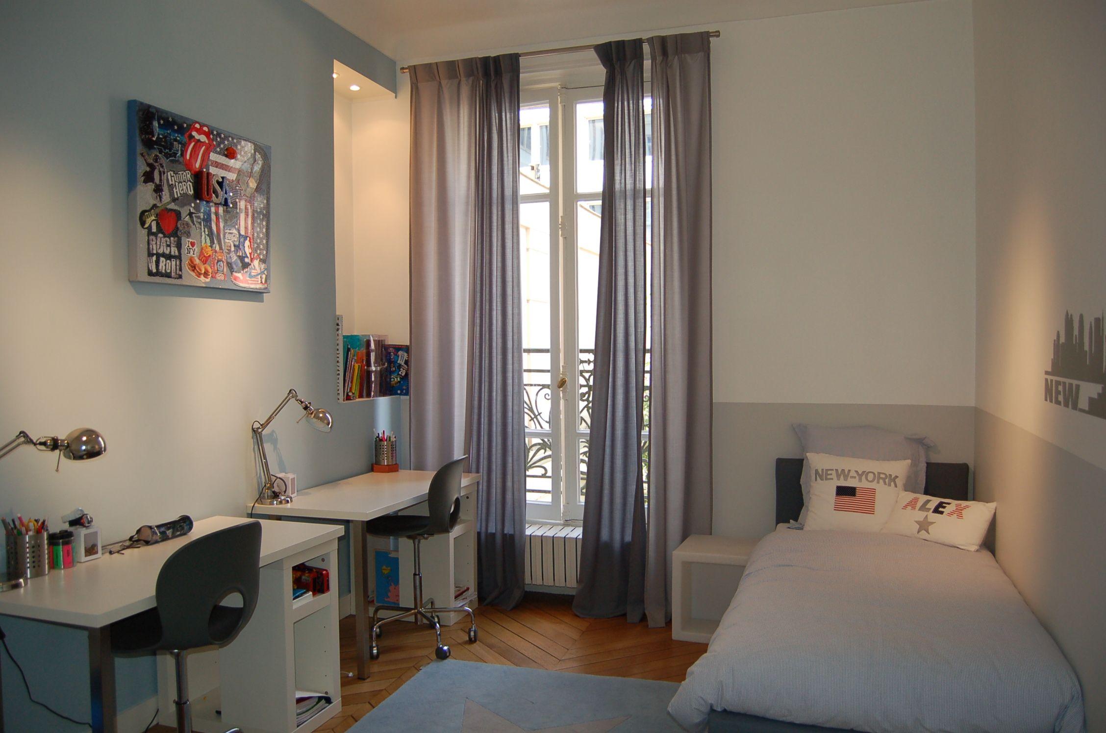 chambre new-york, new-york, chambre grise, chambre garçon, chambre grise