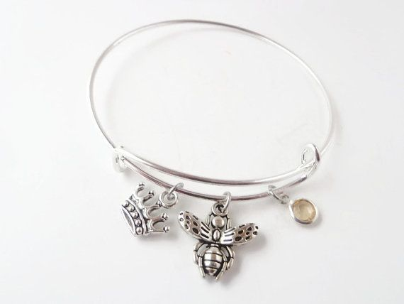 Bracelet Bee Jewerly Queen Alex And Ani Inspired Silver Plated Bangle Honey With Topaz Stone Charm Expandable