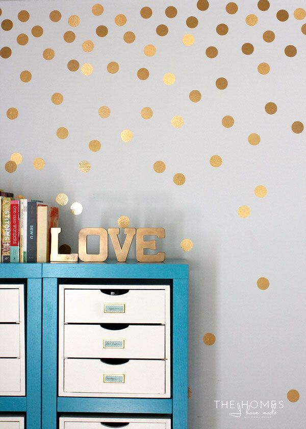 30 Home Decor Projects You Can Make With A Cricut Explore Polka Dot Walls Gold Polka Dots Wall Gold Polka Dot Wall Decals