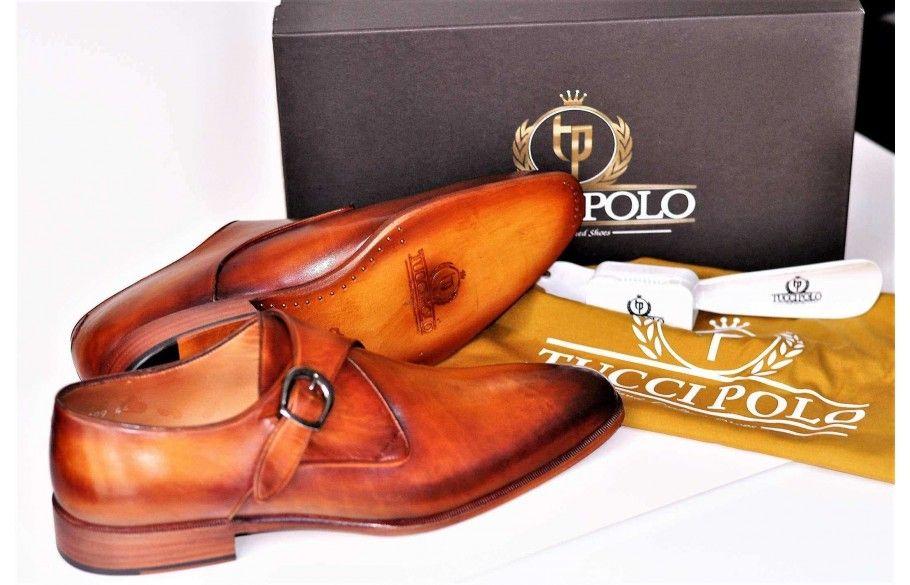 TucciPolo Luxury Mens Handmade Monkstrap Tan Italian Leather