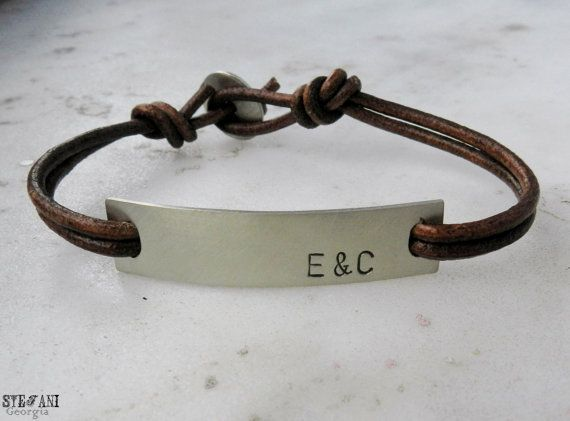 Personalized Nickel Silver Id Leather Bracelet Men S Custom Hand Stamped Initial