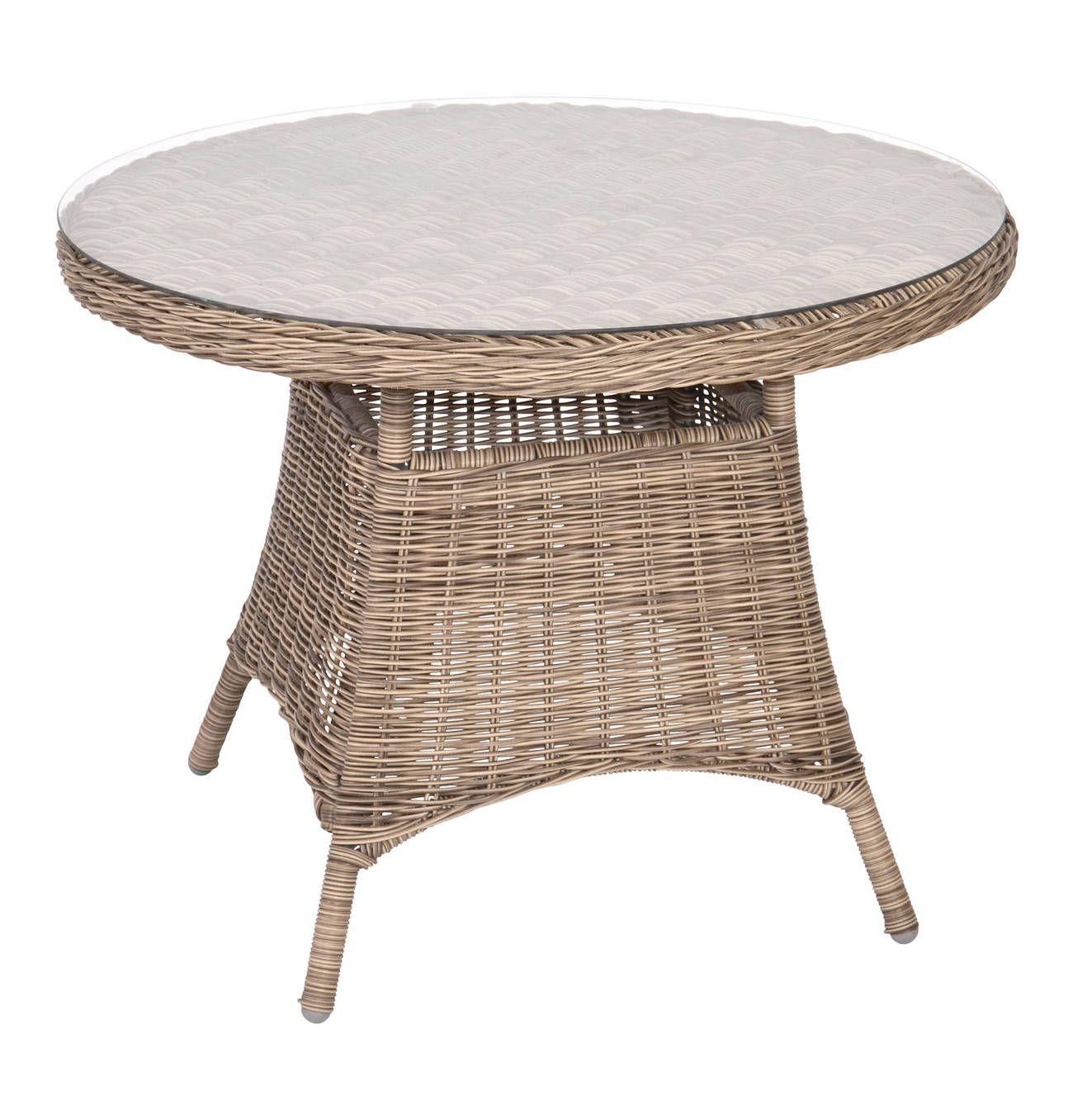Tisch Salondi Brocard Geflochten Glasplatte Gartentisch Rund