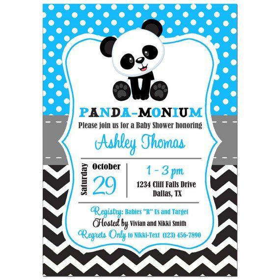 Panda Boy S Baby Shower Or Birthday Invitation Printable Or