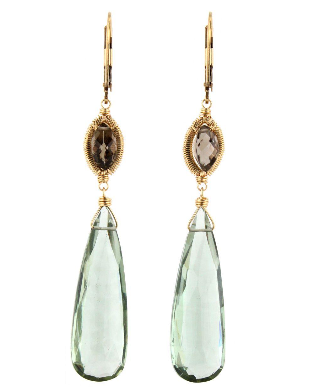 Dana Kellin Smokey and Green Quartz Earrings at Stanleykorshak.com