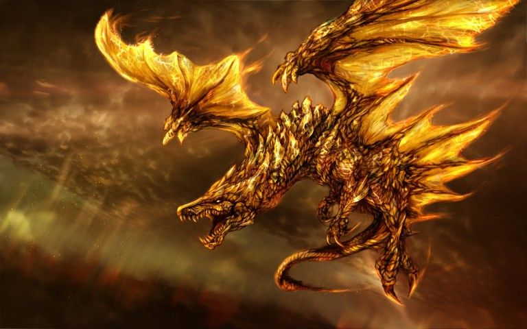 Flying Dragon Fire Fantasy Wallpaper Realistic Dragon
