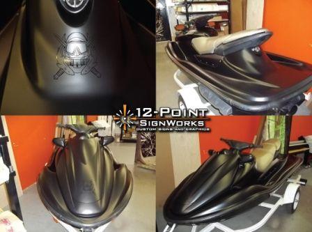 Custom jetski Wrap, matte black, 12 point signworks