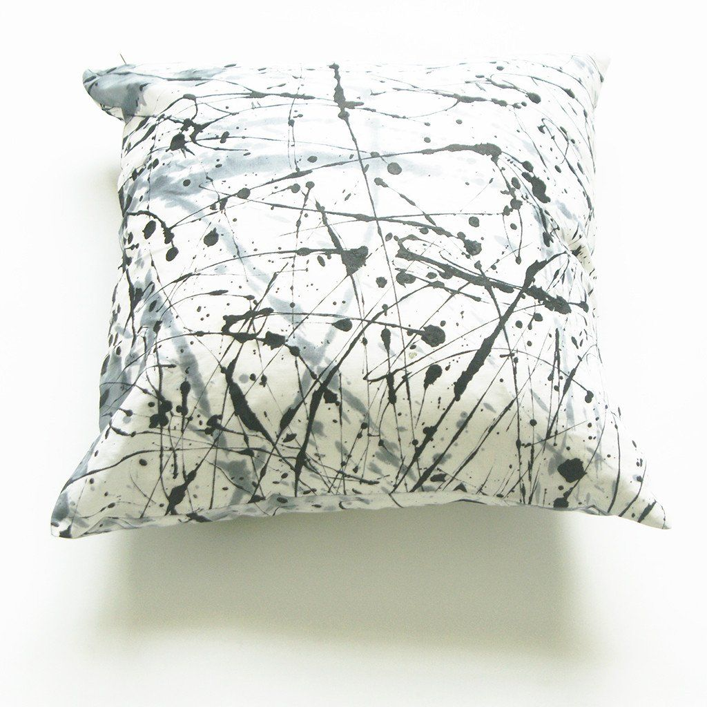 White black splatter paint african batik linen x square pillow