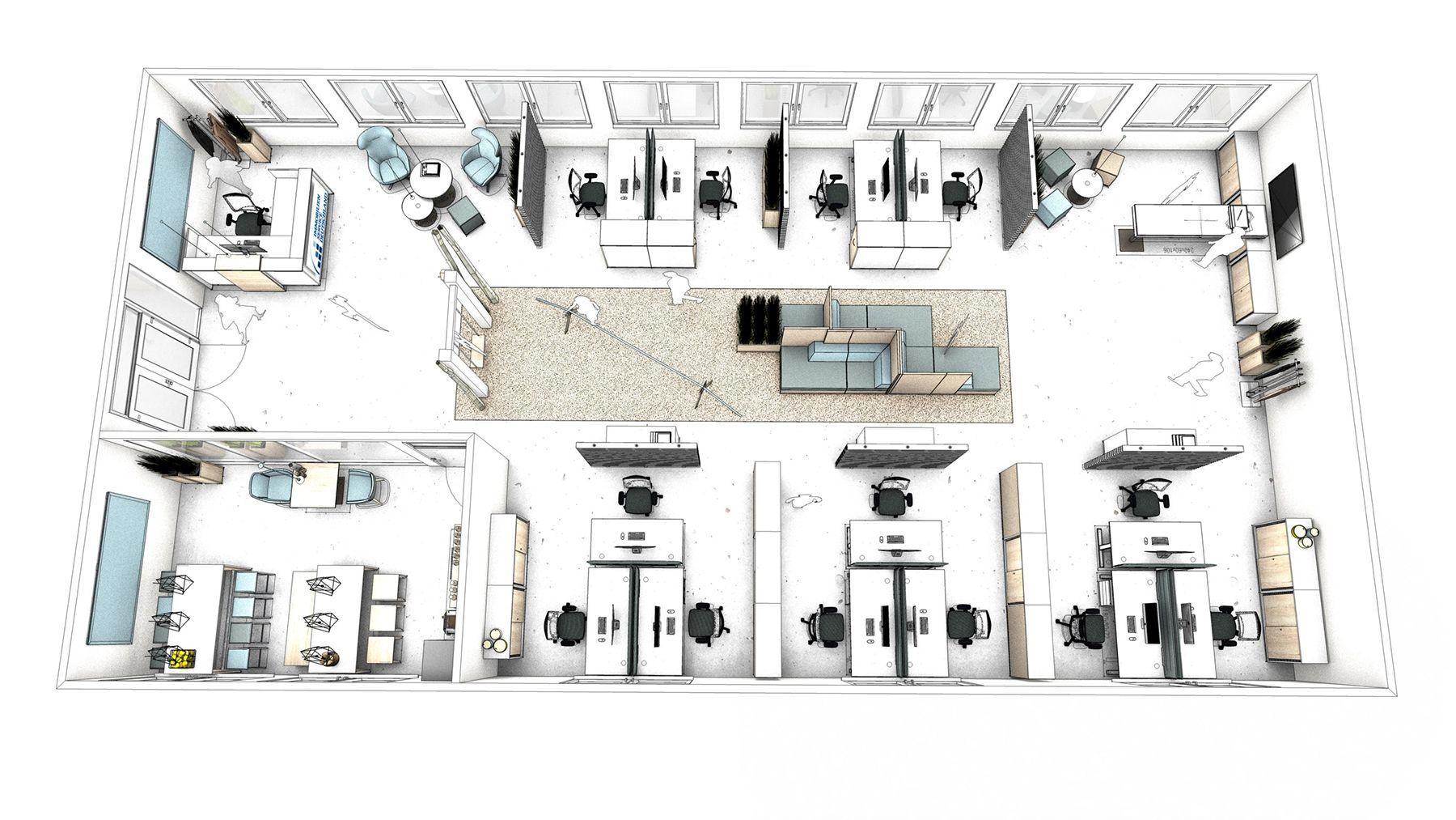 Grundriss Buro Open Space Buro Mit Empfang Arbeitsbreichen Sofa