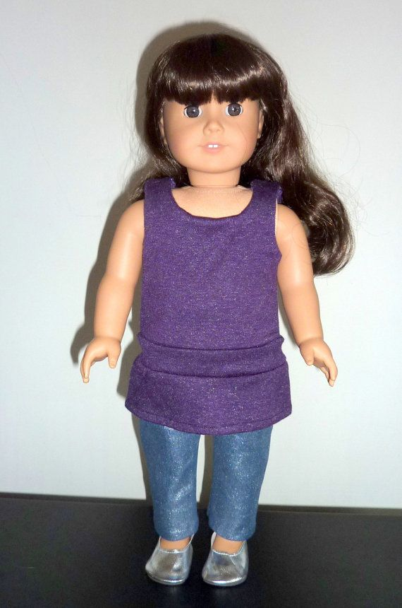 Purple shirt shiny leggings and shoes for 18 inch by Lisapoolaroo, $18.00