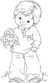 Little Boy With Flowers Coloring Page Line Art Drawing B W Image