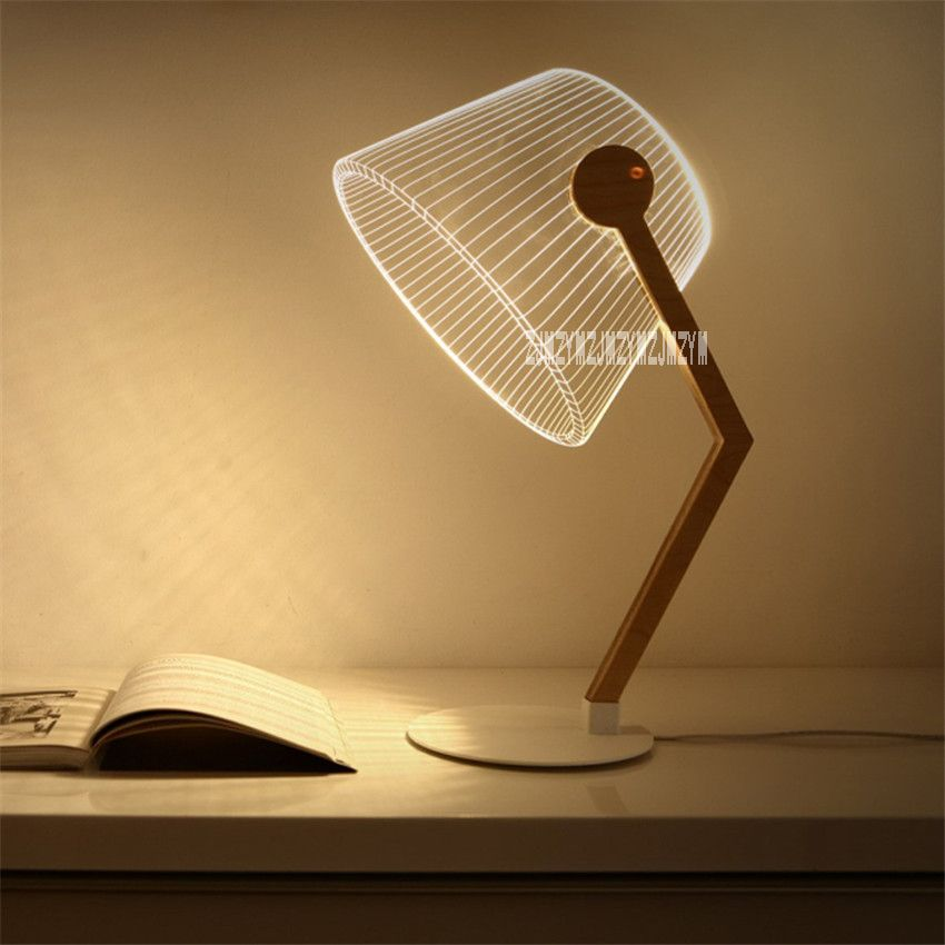 New Innovative 3d Vision Light Learning Reading Table Lamp Wooden
