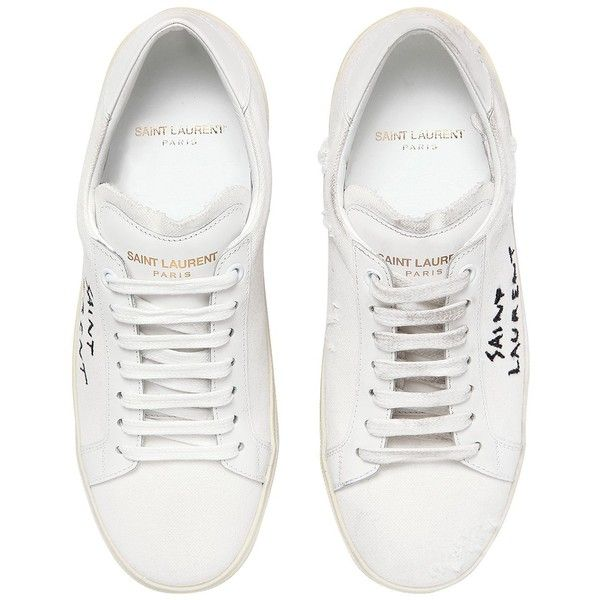 347f8c5ac155 Saint Laurent Women 10mm Court Classic Logo Canvas Sneakers ( 495) ❤ liked  on Polyvore featuring shoes