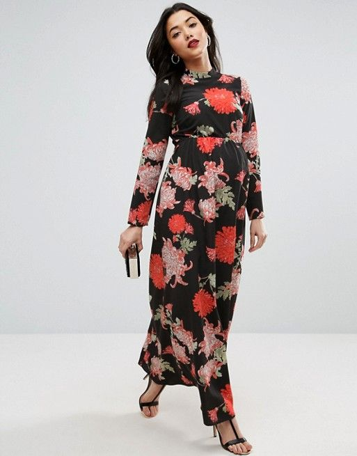e06e8c49ffa ASOS Maternity Maxi Dress with Long Sleeve in Floral Print ASOS  68