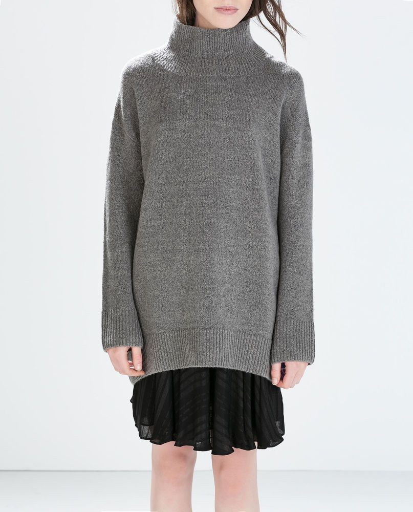 4fe3d8c1 Details about ZARA MARL GREY WOOL KNITTED OVERSIZED ROLL NECK ...