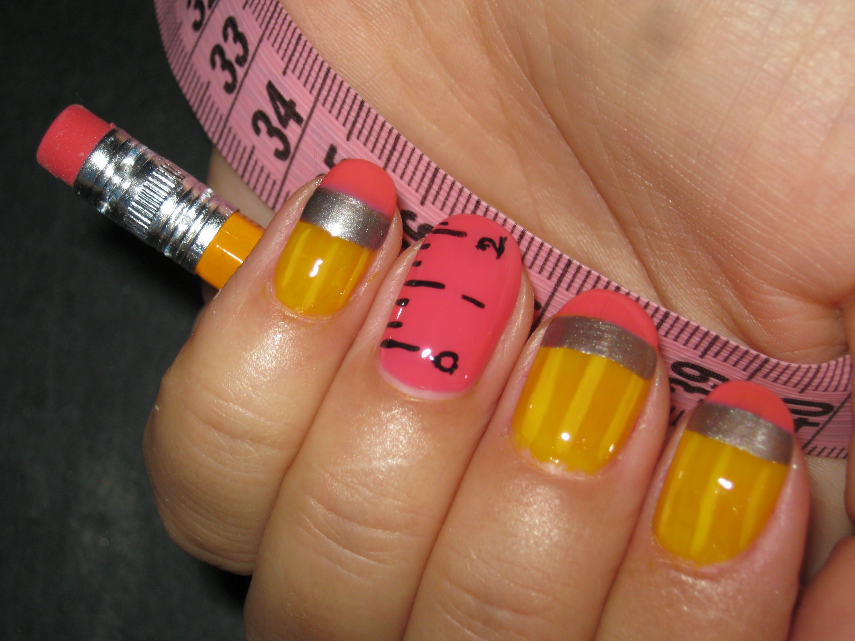 Back to School Pencil and Ruler Nail Art Design | NaiLs | Pinterest ...