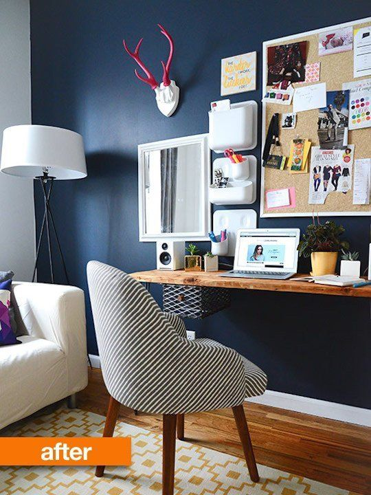 Before After A Home Office Goes Pretty And Posh Feminine Home Offices Home Office Decor Home Office Space