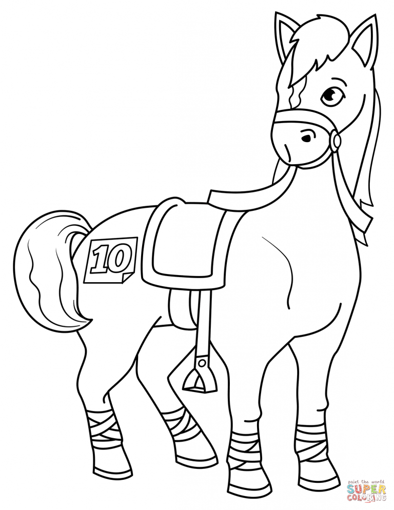 Racehorse Coloring Page Free Printable Coloring Pages With
