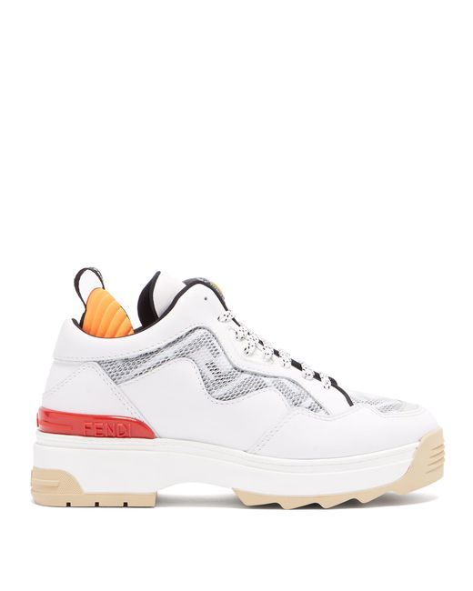 98085cdfad1 Women's White T Rex Mesh Panel Leather Trainers in 2019 | SHOES ...