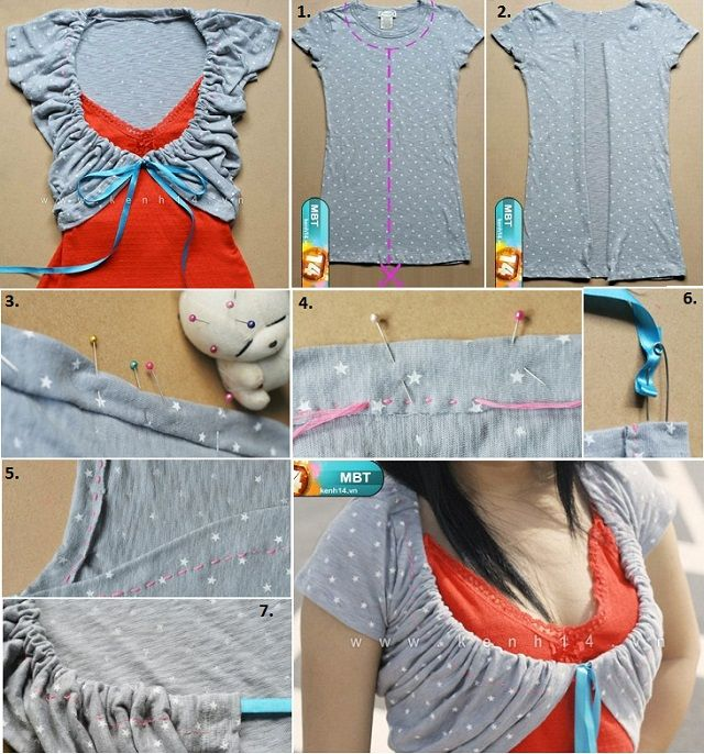 DIY Make Cute Bolero from an Old T-shirt | Boleros, Upcycling and ...