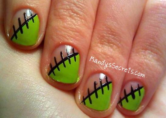 MandysSecrets: NAIL ART -- Zombie/Frankenstein Nails - MandysSecrets: NAIL ART -- Zombie/Frankenstein Nails Nails