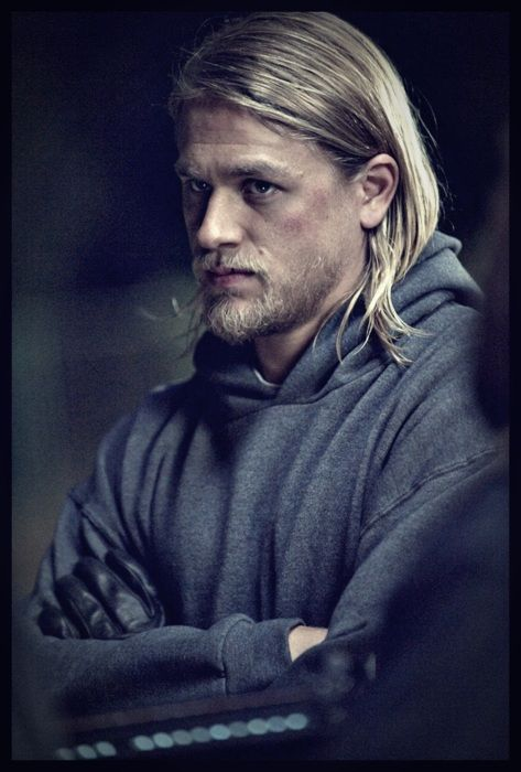 """Charlie Hunnam of Sons of Anarchy in his """"Jackson (Jax) Teller"""" style. He sure does wear a hoodie well. :)"""