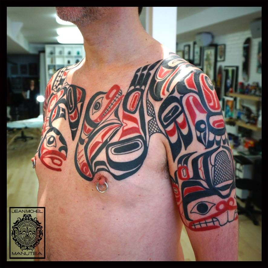 haida style chest shoulder and upper arm tattoo upper arm tattoos pinterest upper arm. Black Bedroom Furniture Sets. Home Design Ideas