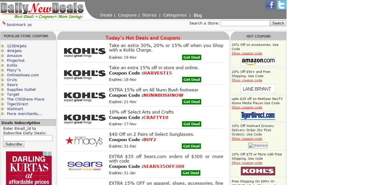 Dailynewdeals Lists Coupons And Promo Codes For Various Online Stores Like Kohls Walmart Tigerdirect And Many More Kohls Coupons Promo Codes Store Coupons