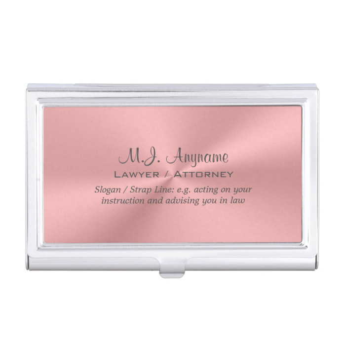 Woman Attorney Luxury Rose Pink With Slogan Business Card Holder Zazzle Com Luxury Business Cards Pink Chrome Business Card Pattern