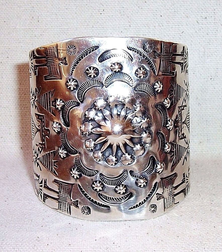 Amazing fred harvey era extra wide navajo sterling silver stamped