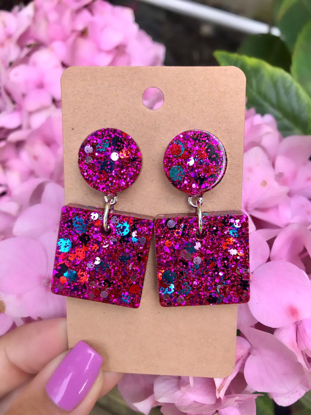 Glitter Earrings resin jewelry accessories