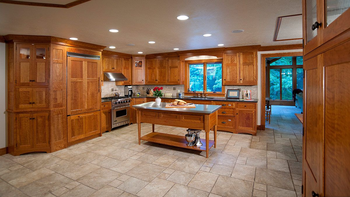 Stone Floors For Kitchen Cherry Cabinets Travertine Floors Cherry Wood Kitchen