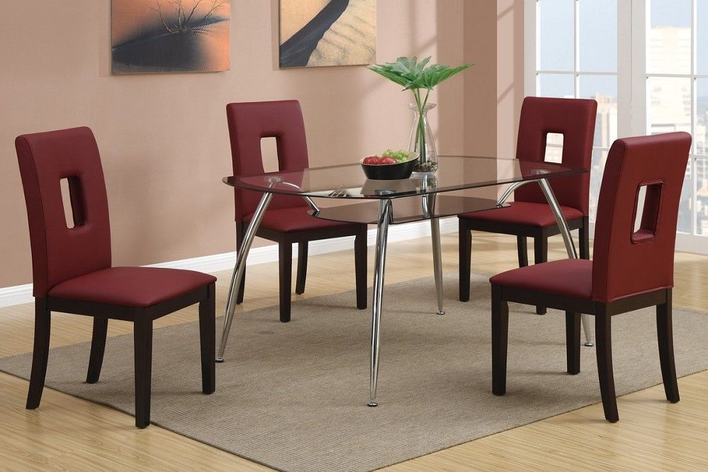 5pc frisco burgundy red leather chairs glass top modern dining