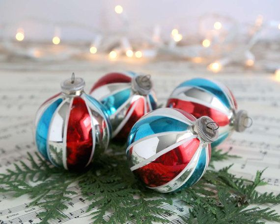 Vintage Christmas Ornaments Set Of 4 Vintage West Germany Christmas Ornaments Red Blue Silver Striped West Germany Dbgm Glass Ornaments Vintage Christmas Vintage Christmas Ornaments Christmas Ornament Sets
