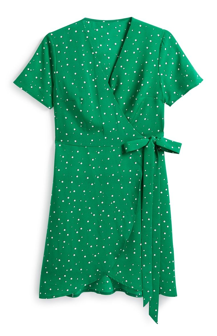 primark - green wrap front tea dress | primark, formal wear