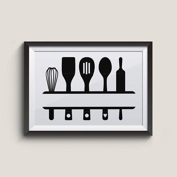 Kitchen Utensil Svg Baking Utensil Clipart Kitchen Signs Etsy