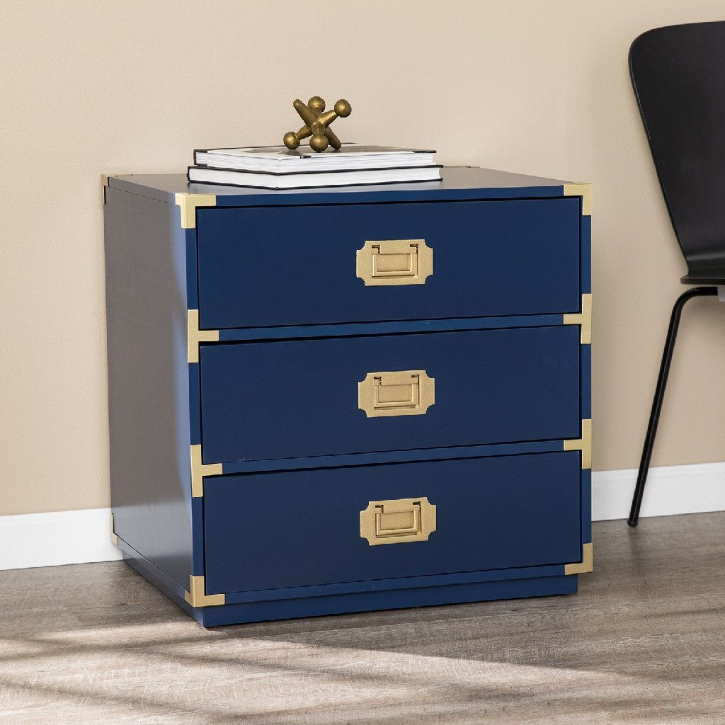 Campaign Navy Blue 20 Drawer Accent Chest   Southern Enterprises ...
