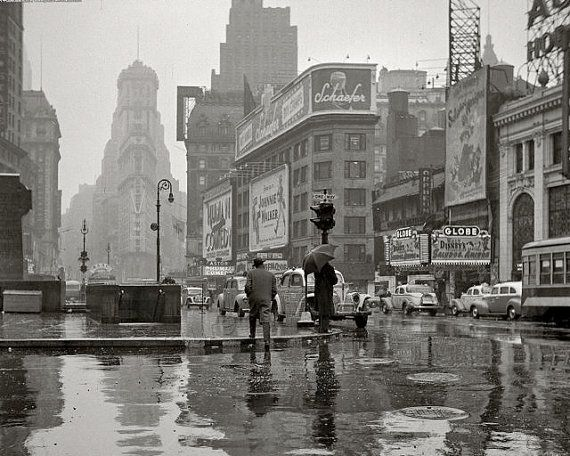 Wet Reflections in Times Square New York City by EclecticForest