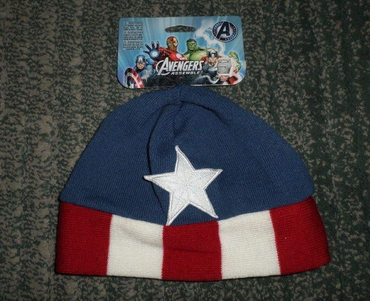 2047073f9 Youth Boys Blue MARVEL AVENGERS CAPTAIN AMERICA Logo Stocking Hat ...
