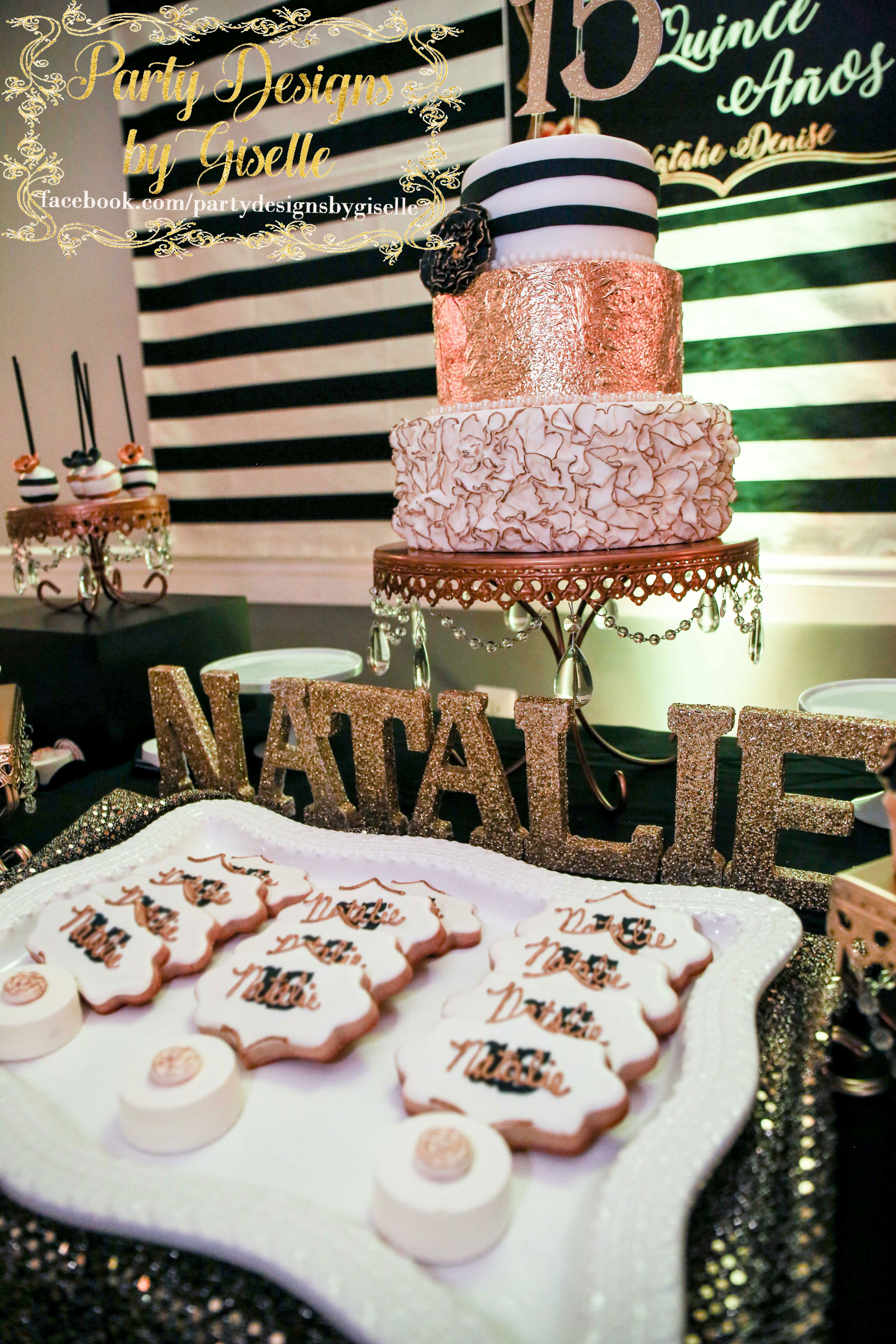 Black And White Stripes With Gold Roses Quinceanera Dessert Table