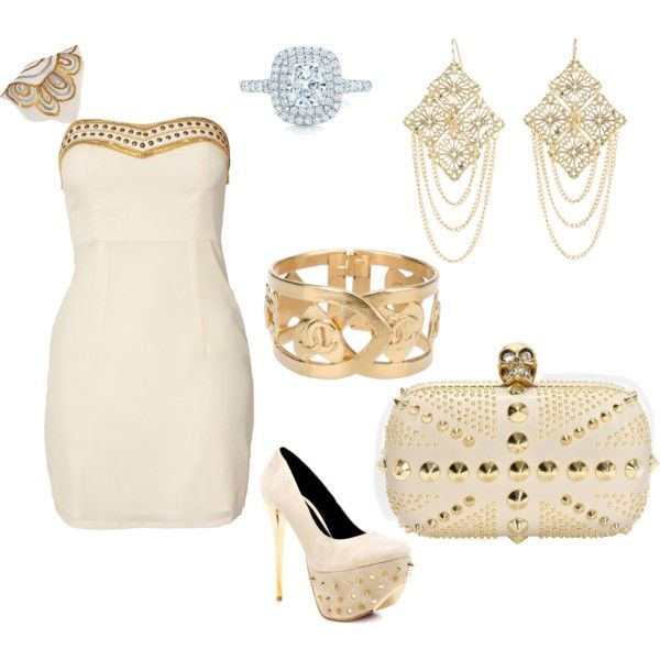 white and gold goddess dress gorgeous by spanbanhan on Polyvore featuring Oneness, Promise Shoes, Chanel, Tiffany & Co., women's clothing, women's fashion, women, female, woman and misses