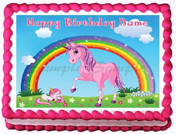 Unicorn Edible Cake Topper Birthday Cake Topper