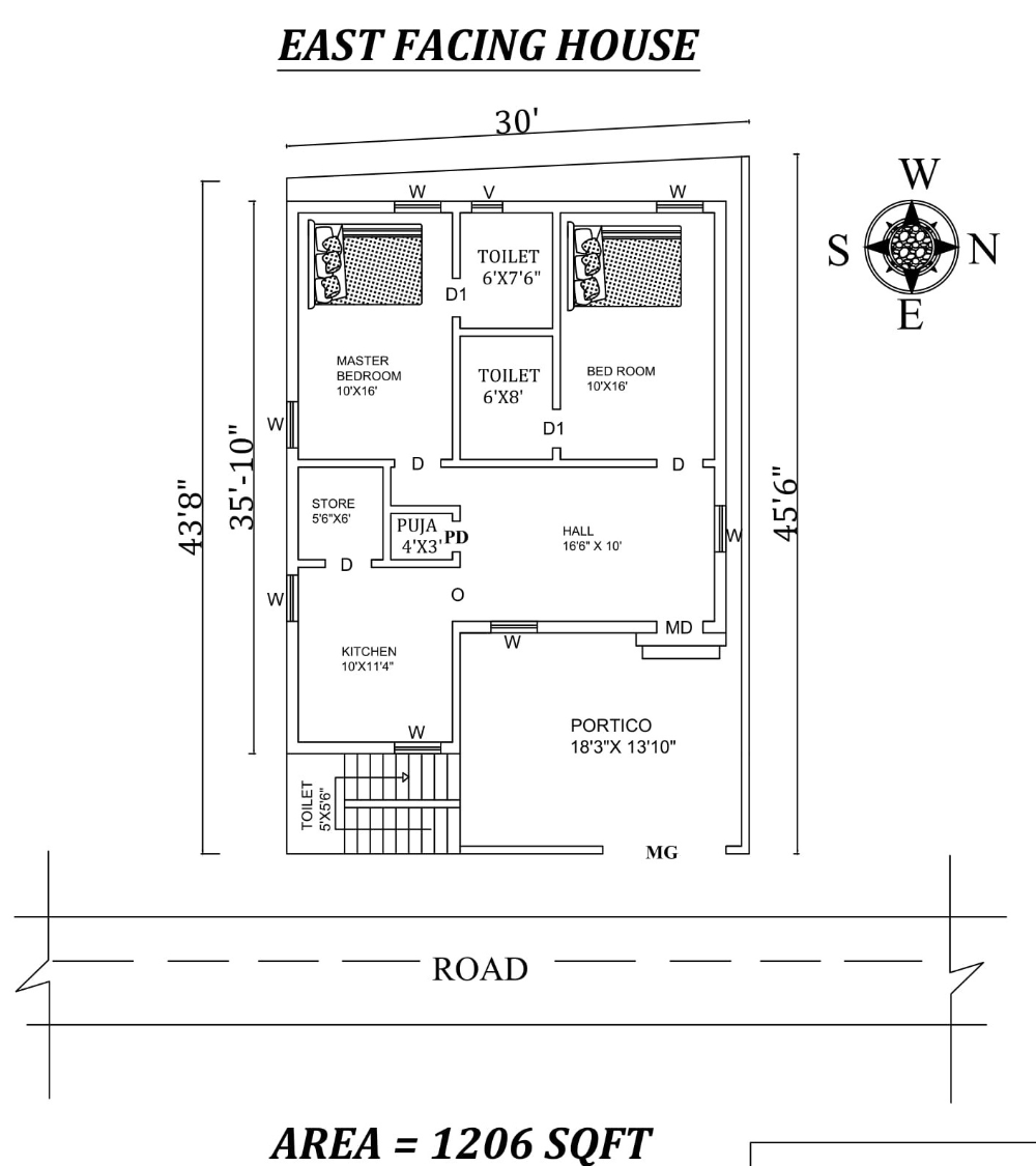 30 X45 6 The Perfect 2bhk East Facing House Plan As Per Vastu Shastra Autocad Dwg And Pdf File Details 20x30 House Plans 2bhk House Plan 30x40 House Plans