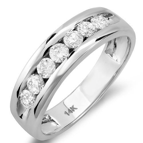 0.85 Carat (ctw) 14k White Gold Round Diamond Mens Anniversary Band Ring DazzlingRock Collection. $849.00. Diamond Color / Clarity : H-I / I1-I2. Diamond Weight : 0.85 ct tw.. Crafted in 14K white-gold. Gemstone : Diamond. Weighs approximately 5.10 grams. Save 71%!