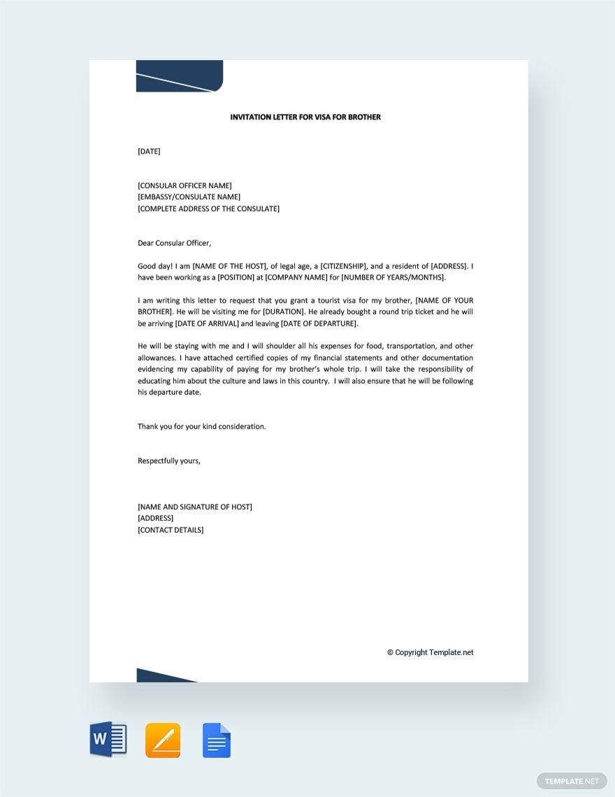 Free Invitation Letter For Visa For Brother Lettering Free