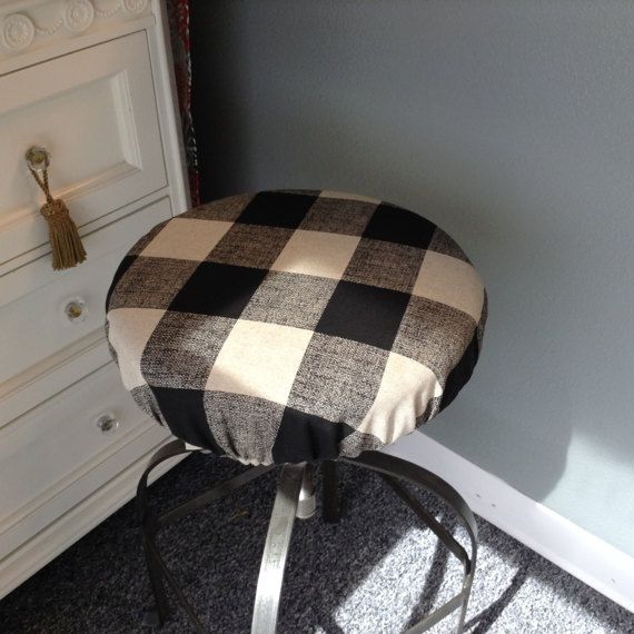 Round Barstool Cover W W Out Foam Elasticized Cover Buffalo Check Kitchen Stool Padded Cover 12 To 20 Diameter Other Colors Available Bar Stool Cushions Padded Bar Stools Round Stool