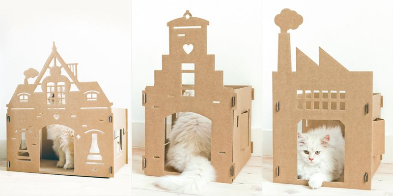 maisons en carton pour chat circuit chats cats pet. Black Bedroom Furniture Sets. Home Design Ideas
