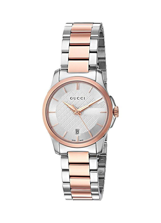 9da385047de Amazon.com  Gucci Swiss Quartz Stainless Steel Dress Two-Tone women s Watch(Model   YA126564)  Watches